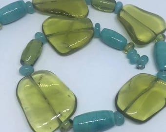 Celadon Glass TUBES & STONES - 24 Handmade Lampwork Glass Beads