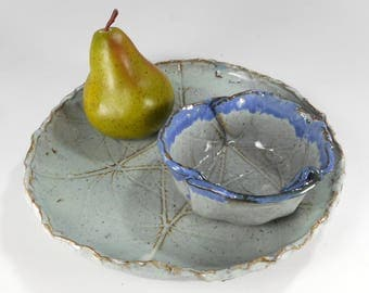 Ceramic chip and dip set, pottery cheese and cracker tray with dipping bowl, leaf pottery platter, snack serving tray with bowl