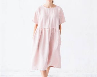 Pink Linen Dress with Pockets