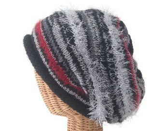 Knit Slouchy Hat Black Wool Hat Rolled Brim Cap Hand Knit Hat Mohair Slouchy Hat Knit Winter Hat Stocking Cap Red Silver Knit Haat
