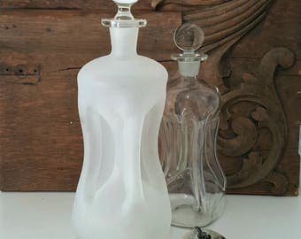 Danish Modern Frosted Glass Decanter