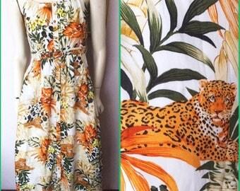 "Vintage 70/80s Jungle Leopard Print Maxi belted Sun Dress.Small.Bust 36"".Waist 26-30""."