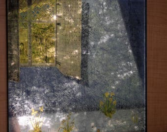 The World Without Us - Verre eglomise artwork - genuine gold leaf gilded to glass and reverse painting -22 karat gold, moon gold, palladium