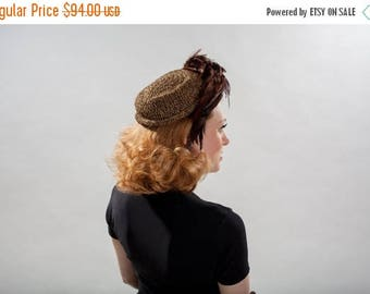 HALF PRICE SALE Vintage 1940s Crocheted Feather Hat - Chocolate Brown Gold - Film Noir Fashions