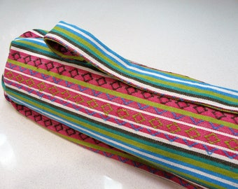 NEW XL Yoga Bag - Exercise mat bag - pink green blue and white striped with Large velcro pocket