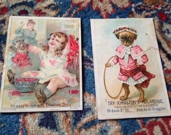 Vintage Advertising Cards Antique Dog Baby Pink Blue