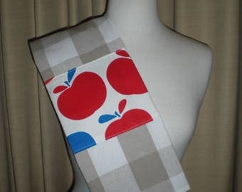 Kitchen checkered tea towel with red blue retro apple print banner NEW cotton Great for kitchen teas.