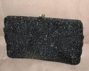 Vintage WALBORG Black Beaded Evening Clutch Purse