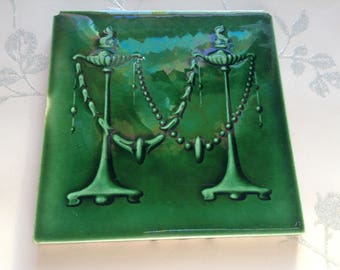 Antique Art Nouveau Tile, Made in England, Green