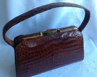 Vintage Crocodile Handbag, 1940s, Tan Colour, Statement Bag