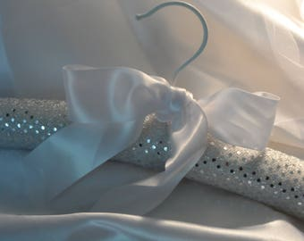 Wedding Dress Hanger,  Padded Bridal Gown Hanger,  Faux Silver Sequin Fabric,  Wedding Gift,