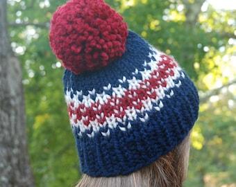 Red White Blue Fair Isle Knit Hat, Fair Isle Hat, Navy Knit Hat, Women's Knit Hat, Men's Knit Hat, Hand Knit Hat, Knit Hat, Chunky Knit Hat