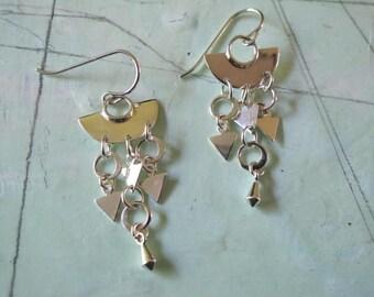 Handmade sterling silver small fan earrings