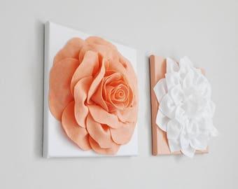 Peach Bath Art • Light Orange Flowers • Floral Bath Decor • Peach Kitchen Art • Nursery Decor • Bedroom • Bathroom • Office • Kitchen Gift