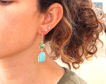 CAMPITOS TURQUOISE EARRINGS with Primavera Stone Sterling NewWorldGems