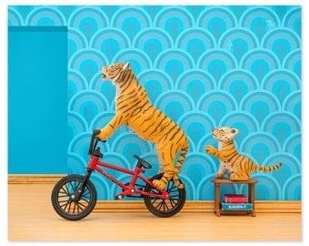 Tiger animal art print with BMX: Tiger Mom
