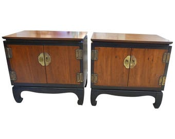 Midcentury Ming-foot Bedside Stands, Matching Pair of Walnut and Ebonized Wood