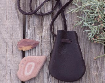Brown leather amulet neck bag , ready to ship , leather pouch , medicine pouch , crystal bag