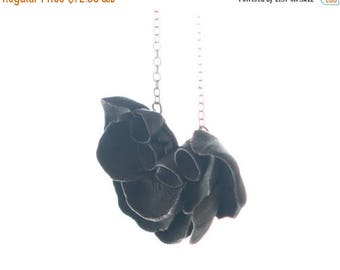 SALE Black Flower Pendant  Necklace Long, Sterling Silver  Chain Porcelain  Il De Re , Ceramic Handmade Jewelry Necklaces ,Gift for her ,For