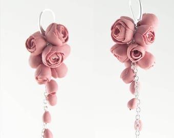 SALE Sterling Silver Rose Earrings, Porcelain Pink Flower Cluster Earrings Long EL PASO Flower Jewelry Handmade Wedding Jewelry for Modern