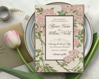 Save the Date Cards, Save the Dates, Flower Wedding Invitations, Vintage Save the Dates, Boho Wedding, Greenery Wedding - The Tennyson