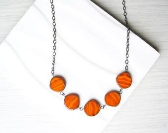 Orange Necklace, Simple Jewlery, Czech Glass, Adjustable, Beaded, Oxidized Look Silver