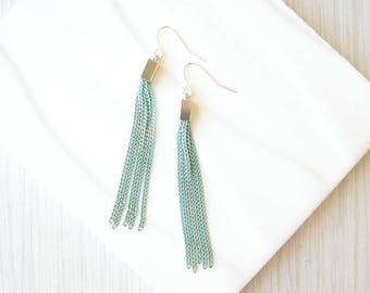 Long Turquoise Tassel Earrings, Trendy Jewelry, Mixed Metal, Silver, Gold, Mint Blue Green, Trendy, Simple, Chain, Metal, Dangle