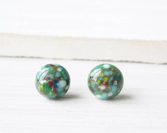Nickel Free Earrings - Green Studs, Titanium Posts, Vintage Confetti Glass, Small, Petite, Multicolor, Multi color, White, Orange, Blue