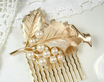 TRIFARI Brushed Gold Ivory Pearl & Rhinestone Leaf Bridal Hair Comb OR Dress Sash Brooch, Autumn Wedding Headpiece/Accessory Vintage Modern