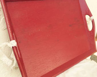 Red Tray Handles Wood Lace Country Farmhouse Distressed