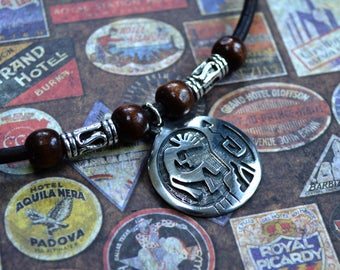 Kokopelli Leather Necklace Mens Necklace, Mens Jewelry, Mens Gift, Pendant, Distresed Cord