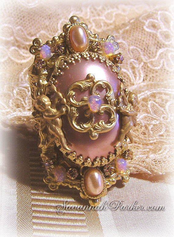 Antique Style Victorian Romantic Rococo Pink Filigree Ring - Blush Pink Pearl - Pink Fire Opals - Marie Antoinette Style