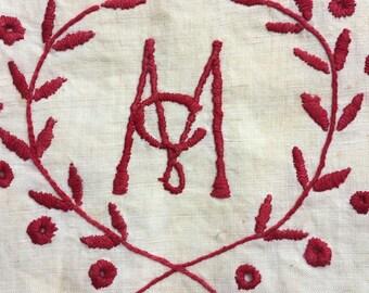 Antique Embroidered Monogram Mc on Linen