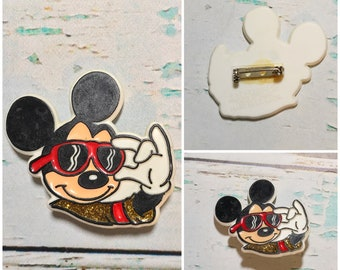 Vintage Mickey Mouse Pin // Mickey Mouse St. Lucia Walt Disney Pin Button
