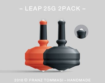 LEAP 25G 2PACK Orange-Black – Value-priced set of precision handmade polymer spin tops with dual ceramic tip and rubber grip