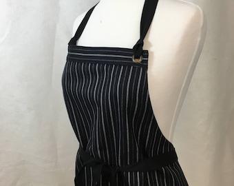 Apron Full  Woman Japanese Denim Black Stripes