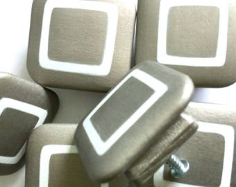 CABINET KNOBS Dresser Drawer Pulls HARDWARE 2in. Square Hand Painted Brushed Pewter and White