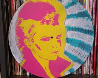 Wendy O. Williams Plasmatics punk art up cycled vinyl record painting street art spray paint stencil record store art feminist punk women