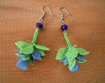 blue green oya earrings, needle lace dangles