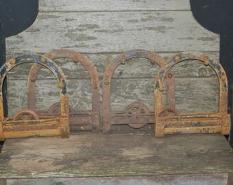 """4 Antique Architectural Salvage Cast Iron """"D"""" shaped Horseshoe Barn Door Rollers / Hangers w/ Cast Spinner Wheels + 12 Hand Forged Bolts"""