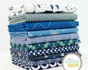 "Dark Blue - Fat Quarter Bundle - 10 - 18""x21"" Cuts - Mixed Designers by Southern Fabric"