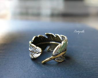 Ring - Feather with Antique Finish Patina
