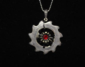 Steampunk Necklace  Gear with Red Jewel  SP 18-5