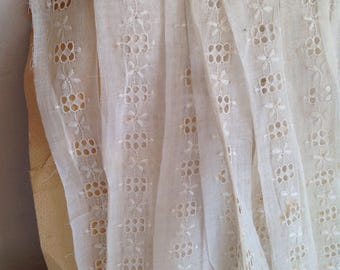Antique Lace, Broderie Anglaise, Vintage White Cotton Trim. Sewing Supplies. Dolls & Bears  3 yards Period Costume Vintage Wedding