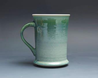 Pottery coffee mug, ceramic mug, stoneware tea cup jade green 12 oz 4029