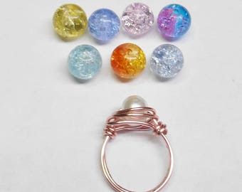 Child's Wire Wrapped Rings In Pink, Blue, Light Green, White Glass Pearl
