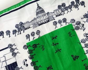 Vintage 1979 Green Washington DC Historical Souvenir Scarf / Capital Monument Retro Crepe Long Scarf