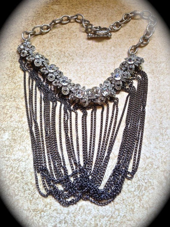 Fringe Statement Necklace with layered vintage chain