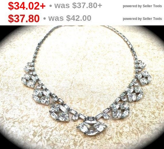Summer Sale Summer Sale Scalloped Rhinestone Choker Necklace, unique vintage necklace