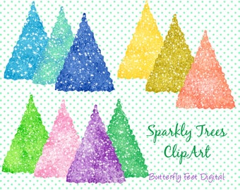 Christmas Trees Clip Art, 10 Sparkly Glittery PNG Tree Images, Printable Holiday, Card Making, Scrapbooking, Instant Download,